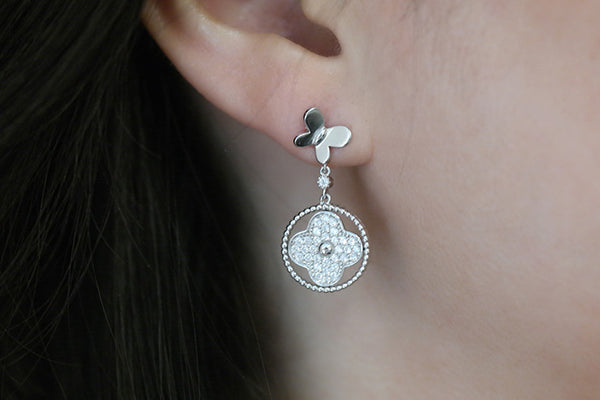 Sterling Silver Butterfly and Clover Earrings - SDG by Grace
