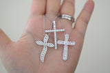 Sterling Silver Flower Pave Cross Necklace