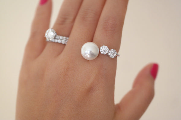 Sterling Silver Crystal Flower Pearl Open Ring - SDG by Grace