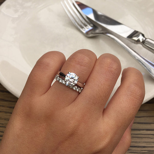 Sterling Silver Tapered Cathedral Engagement Ring - SDG by Grace