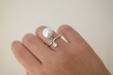 Sterling Silver Crystal and Pearl Ring - SDG by Grace