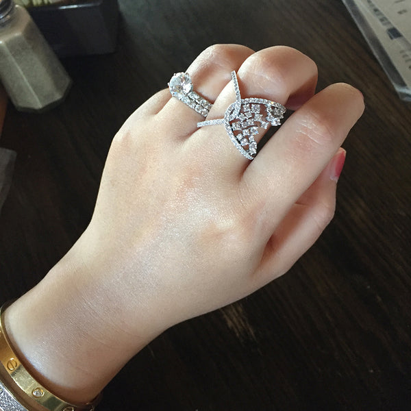 Sterling Silver Unbalanced Crystal Cluster Ring - SDG by Grace