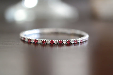 Sterling Silver Red Color CZ Stretch Tennis Bracelet
