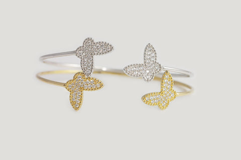Sterling Silver Butterfly Open Bangle (3 Colors) - SDG by Grace