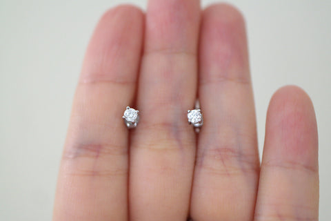 Sterling Silver CZ Stud Earrings, 3mm