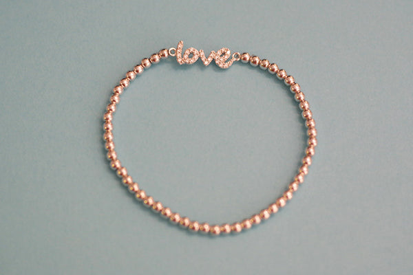 Sterling Silver Love Script Bead Bracelet - SDG by Grace