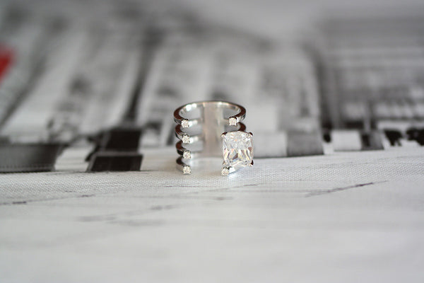 Sterling Silver Square Crystal Open Ring - SDG by Grace