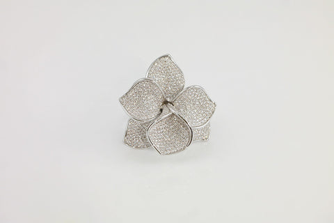 Brass Pave Flower Cocktail Ring - SDG by Grace