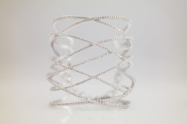Brass Gladiator Bangle, White - SDG by Grace