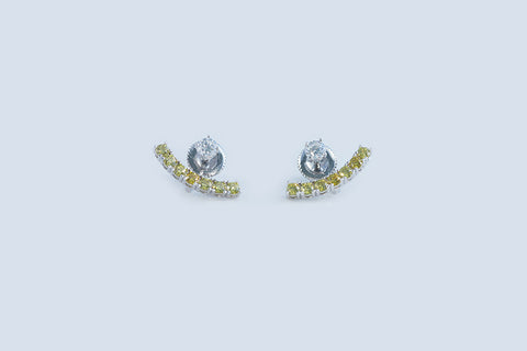 Sterling Silver Yellow CZ Half Moon Earrings - SDG by Grace