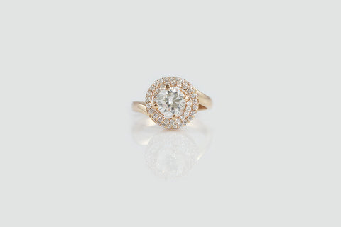 18K Gold Swirl Double Halo Ring - SDG by Grace