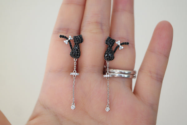 Sterling Silver Black Cat Drop Earrings - SDG by Grace