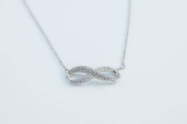 Sterling Silver Infinity Necklace, White - SDG by Grace