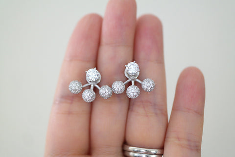 Sterling Silver Three Pave Ball Two Way Earrings (4 Colors) - SDG by Grace