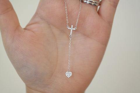 Sterling Silver Cross and Heart Y Necklace