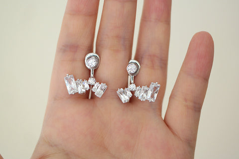 Sterling Silver Baguette Ear jacket Earrings