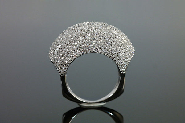 Sterling Silver Pave Dome Ring, White - SDG by Grace