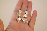 Sterling Silver Yellow Triangle Crystal Drop Earrings - SDG by Grace