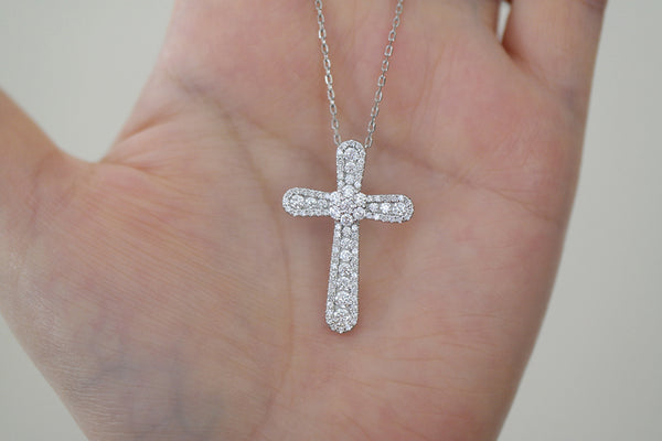 Sterling Silver Flower Pave Cross Necklace - SDG by Grace