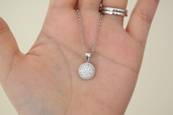 Sterling Silver Pave Round Disc Necklace (3 Colors) - SDG by Grace