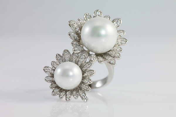 Sterling Silver Sunflower Pearl Ring, White - SDG by Grace