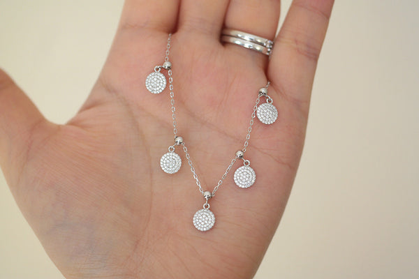 Sterling Silver Five Adjustable Pave Disc Necklace - SDG by Grace