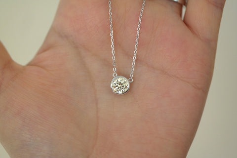 Sterling Silver Bezel Set Yellow CZ Solitaire Necklace - SDG by Grace