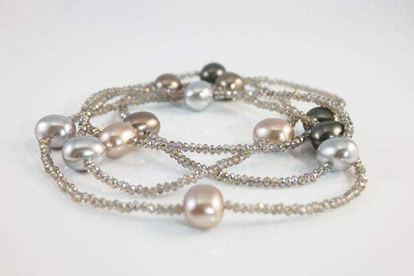 Beaded Pearl and Crystal Rope Necklace - SDG by Grace