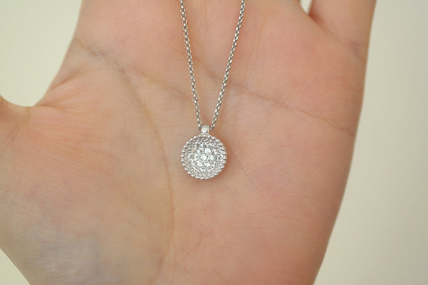 Italian Silver Disc Pave Necklace