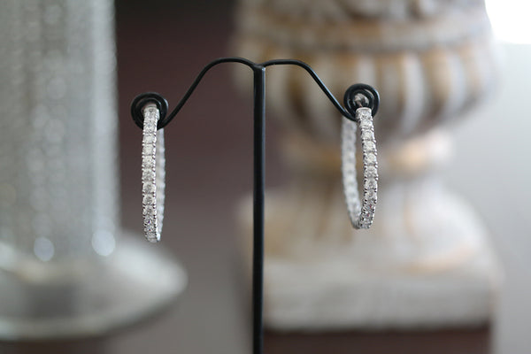 Sterling Silver Big Crystal Hoop Earrings - SDG by Grace