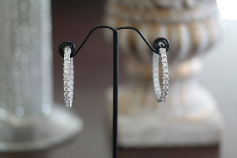 Sterling Silver Big Crystal Hoop Earrings