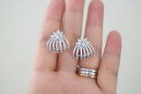 Sterling Silver Marquise Flower Hugging Earrings