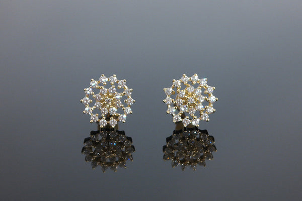 Sterling Silver Snowflake Earrings, Gold - SDG by Grace