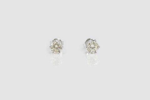 Sterling Silver Yellow CZ Six Prong Stud Earrings - SDG by Grace