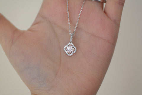 Sterling Silver Pink Color CZ Flower Necklace - SDG by Grace