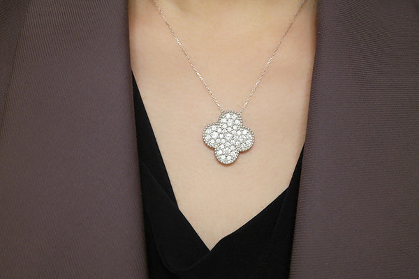 Sterling Silver Magic Clover Necklace, White - SDG by Grace