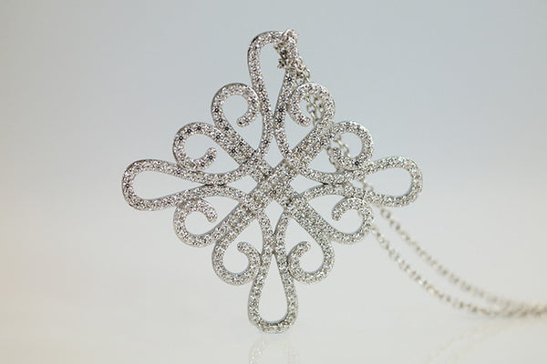 Sterling Silver Filigree Pendant Necklace, White - SDG by Grace