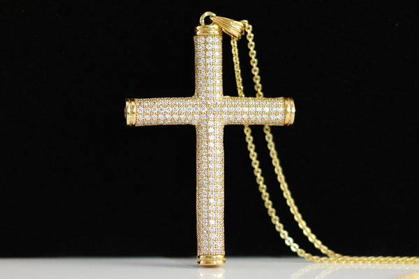 Sterling Silver Micro Pave Cross Necklace, Gold - SDG by Grace