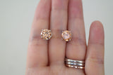 Sterling Silver Champagne Color CZ Stud Earrings - SDG by Grace