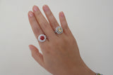 Sterling Silver Double Halo Ring, Red - SDG by Grace