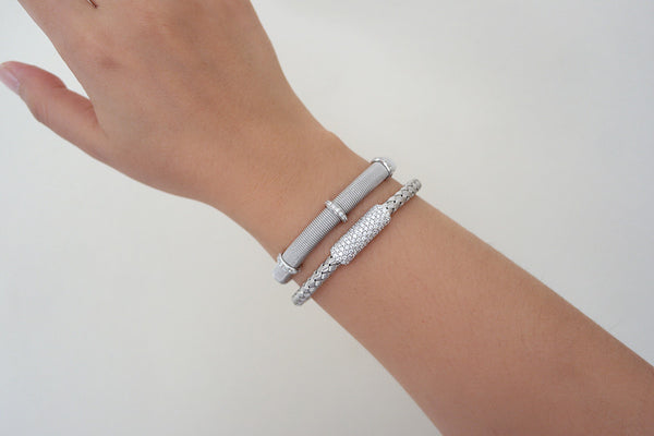 Three Station Thick Italian Silver Bracelet - SDG by Grace