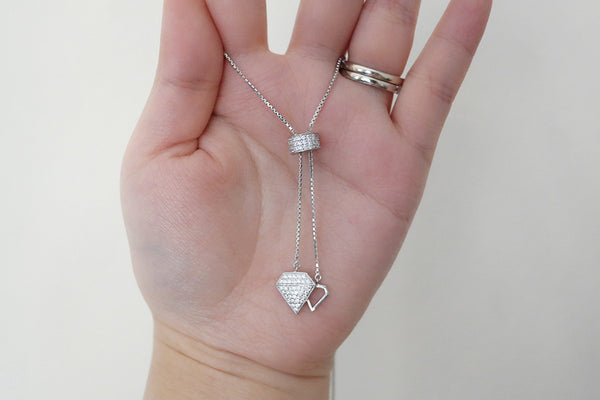 Sterling Silver Adjustable Diamond Drop Necklace - SDG by Grace