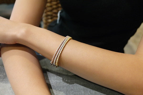 Sterling Silver Blossom Crystal Bangle, Gold - SDG by Grace
