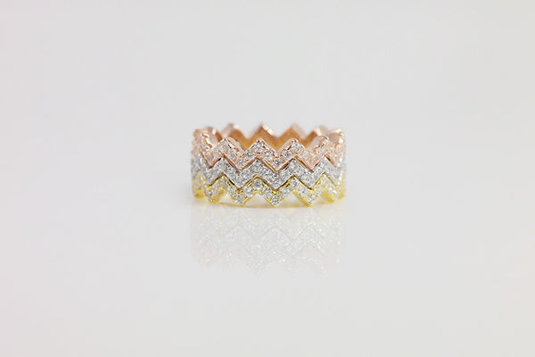 Sterling Silver Zigzag Tri-color Ring Set - SDG by Grace