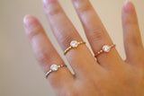 Sterling Silver Three Color Bezel Setting Ring Set - SDG by Grace