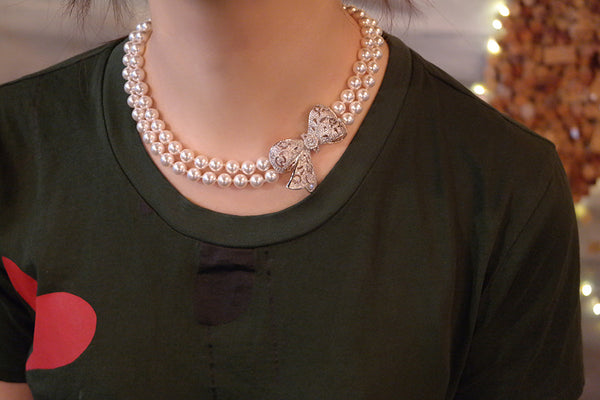 Bow Pendant Double Stranded Swarovski Pearl Choker Necklace - SDG by Grace