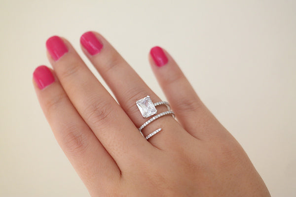 Sterling Silver Twist Square Crystal Ring - SDG by Grace