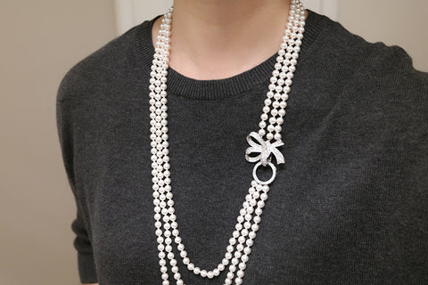 Bow Clasp Three Strand Swarovski Pearl Long Necklace - SDG by Grace