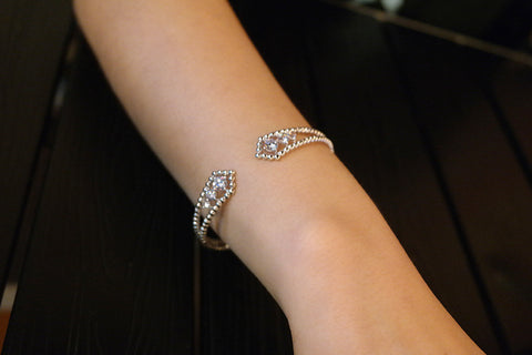 Sterling Silver Bubble Open Bangle - SDG by Grace