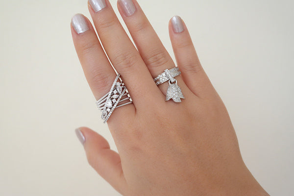 Italian Silver Assorted Crystal Cable Ring - SDG by Grace